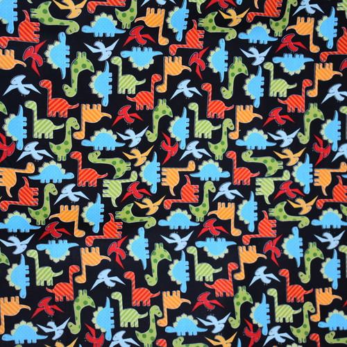 Bawełna - kolorowe dinusie na czarnym tle