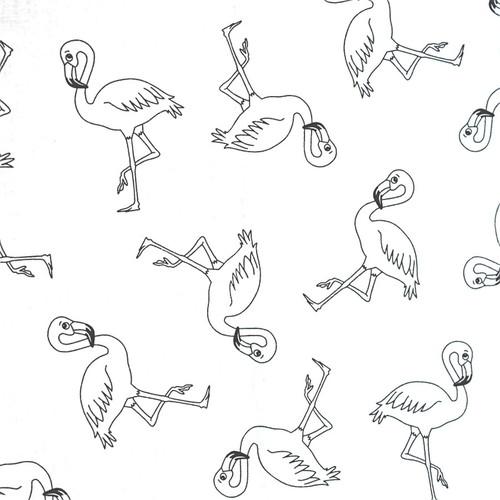 Bawełna - flamingi na białym tle