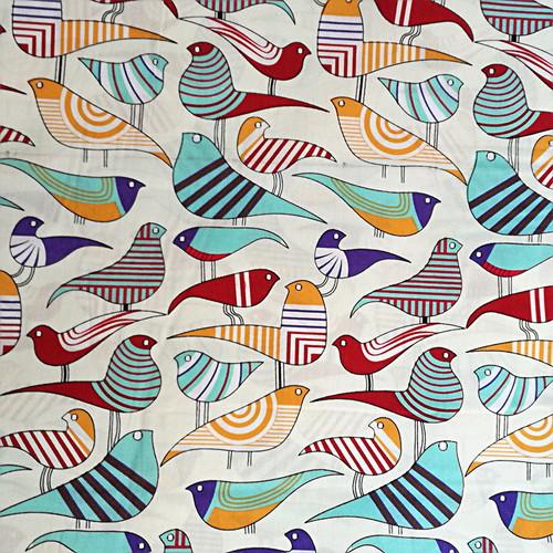 Bawełna - kolorowe ptaki na tle ecru