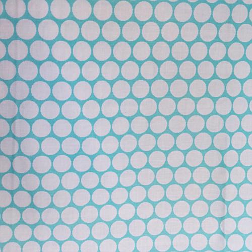 Bawełna - białe groszki na niebieskim tle