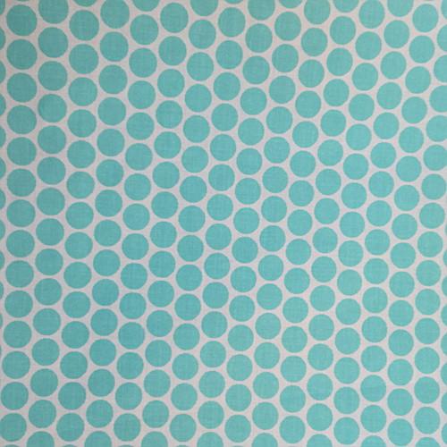 Bawełna - niebieskie groszki na białym tle