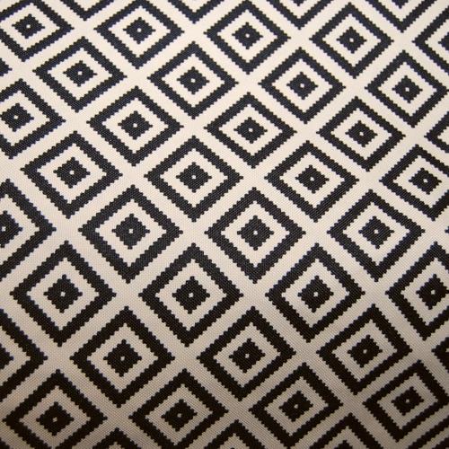 Poliester - czarne znaczki na beżowym tle