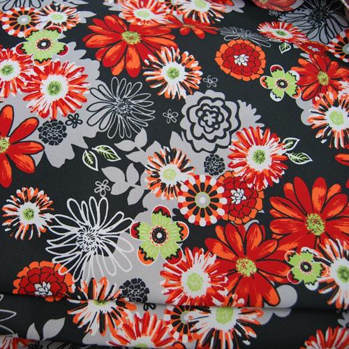 Poliester - Czerwone kwiaty na czarnym tle