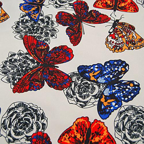 Poliester - czerwone motyle na szarym tle
