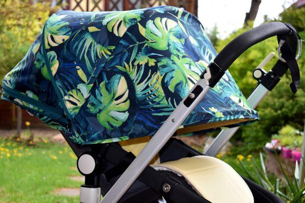całoroczna budka przedłużana do bugaboo cameleon palmowe liście palm leaves 6