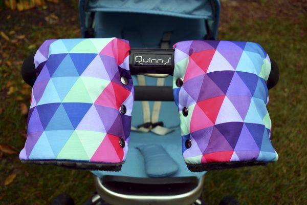 mufki na rączkę kolorowe trójkąty colorful triangles
