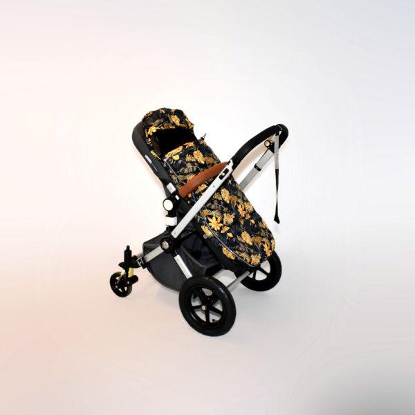 śpiworek do wózka spacerowego złote liście gold leaves