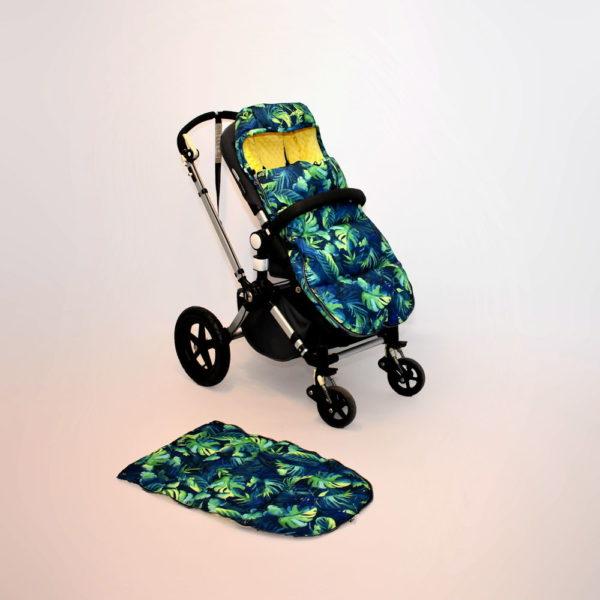 śpiworek do wózka spacerowego palmowe liście palm leaves