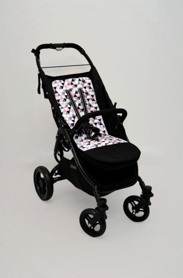 wkładka dwustronna do wózka valco snap szare i różowe trójkąty