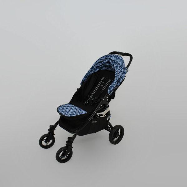 wkładka dwustronna do wózka valco snap niebieskie znaczki blue stemps