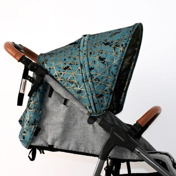 budka do wózka valco snap trend turkusowa geometria